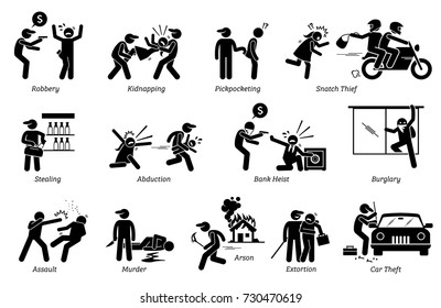 Crime and Criminal. Pictogram depicts various criminal activities that include robber, kidnappers, thief, bank heist, assault, murder, arson, and extortion.
