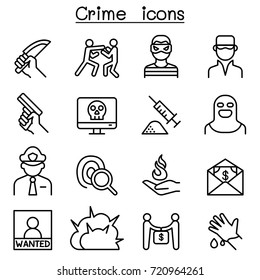Crime icon set in thin line style