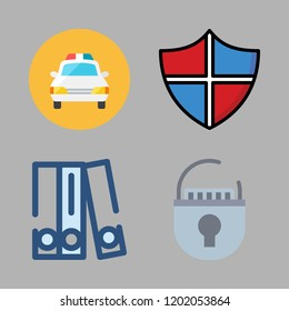 crime icon set. vector set about police car, blinder, padlock and shield icons set.