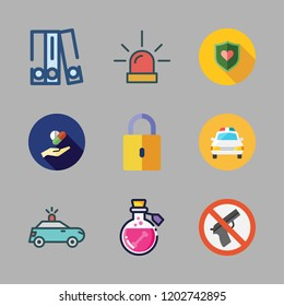 crime icon set. vector set about police car, shield, poison and blinder icons set.