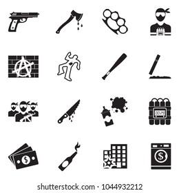 Crime Icons. Black Flat Design. Vector Illustration.