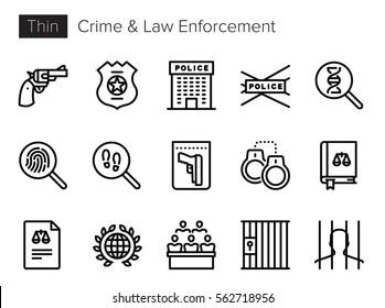 Crime & Law Enforcement Thin line Vector Icons set