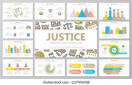 Crime, law, police and justice multipurpose presentation templates and infographics elements on white background. Use for business annual report, flyer, corporate marketing, leaflet, advertising