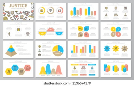 Crime, law, police and justice presentation templates elements on white background. Vector infographics, flyer and leaflet, corporate report, marketing, advertising, banner.