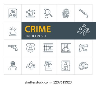 Crime line icon set. Prisoner, robber, gun. Law concept. Can be used for topics like justice, punishment, murder, investigation