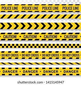 Crime line tape. Police danger caution vector yellow barrier. Not cross security line.