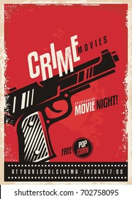 Crime movies poster design template with gun on red background. Pistol graphic on cinema poster.