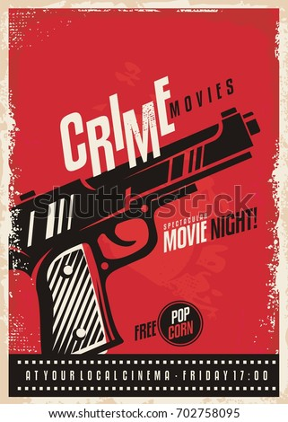 crime movies poster design template gun stock vector royalty free