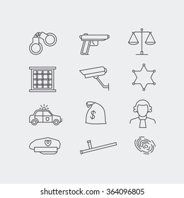 Crime and police line vector icons set. The legal system ,jale, police car and scales