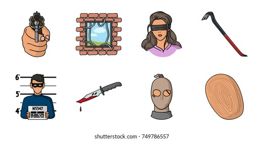 Crime Punishment Cartoon Icons Set Collection Stock Illustration