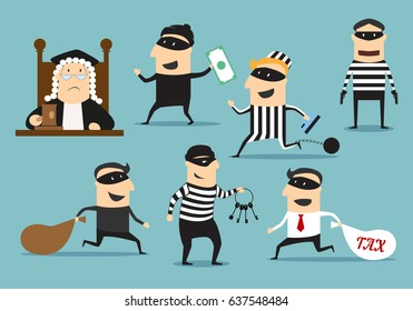 Crime and punishment. Vector thief man characters and judge with gavel for theft or robbery concept. Set of robber burglars with guns in masks stealing money, taxes, credit cards, door keys