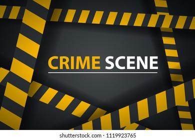 Crime ribbon template. Caution, stop, police line, crime scene Vector eps 10