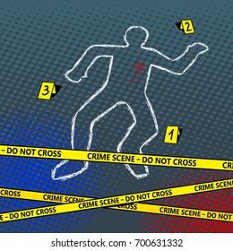 Crime scene body chalk outline pop art style vector illustration. Bad sign. Comic book style imitation