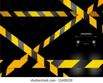 Crime scene with car