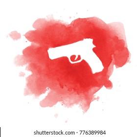 Crime scene of cold blood murder - illustration of gun on puddle of blood /stop violence