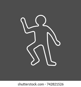 Crime scene concept. Dead body silhouette icon. Vector illustration in flat style isolated on grey background
