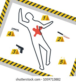Crime scene. Danger tapes. Vector illustration flat design. Isolated on background. Evidence at the scene of the crime: a gun, knife in the blood, bullets, a contour of body with chalk, broken glasses