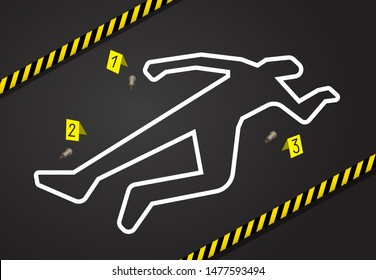 Crime scene, do not cross police tape. Chalk outline from the murder scene, circled the body, and there are marks near the evidence of the gun shells. Place of murder