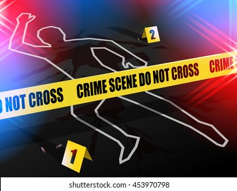 Crime scene - Do not cross.  Chalk outline of murdered victim of Gun Violence on the road with Evidence cards placed next to bullet casings. Blue & red police lights flashing around.