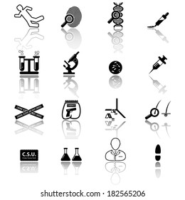 Crime scene investigators icon set