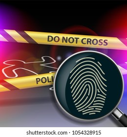 Crime scene. Magnifying glass with fingerprint. Yellow police tape. Stock vector illustration