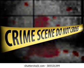 Crime scene Police line tape against blood on the wall - vector illustration