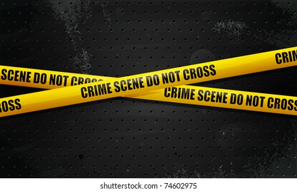 Crime Scene Tape on black grunge background. transparency, eps10