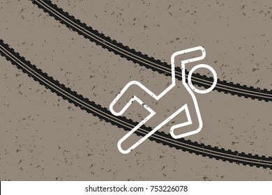 Crime scene - victim and tracks made by tires - pedestrian was hit and killed by running car and car. Death on the road and street because of accident, crash or terrorist attack. Vector illustration