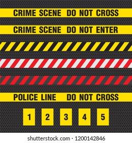 Crime scene yellow tape, police line Do Not Cross tape.