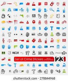 crime vector sticker icons with shadow. Paper cut