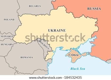 Crimean Peninsula Europe Map.Crimea Annexation Map Political Map Crimean Stock Vector Royalty
