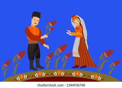 Crimean Tatar couple in love on a background of tulips. Wedding greeting concept