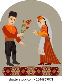 Crimean Tatar couple in love with a tulip on a gray background. Wedding greeting concept