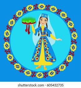 Crimean Tatar girl in folk costume holding sabzeh (symbols of Nowruz) in ornamental circle