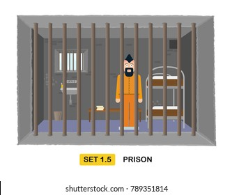 Criminal behind jail bars. Flat vector illustration of prisoner in jail.