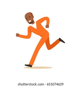 Criminal black man in an orange uniform is running colorful character vector Illustration