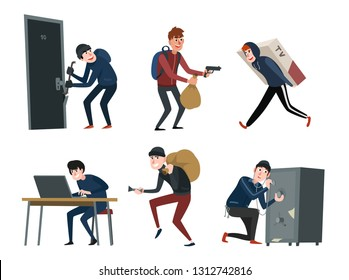 Criminal Burglars and Thiefs in Black Clothes Break Down the Appartment Door, Stealing TV, Take Money from Bank, Hacking a Computer, Cracking Safes with Picklock. Cartoon Style Illustration Set