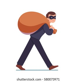 Criminal businessman in mask on the eyes carrying big sack with money on his back. Governmental crime. Business theft, corruption or kickback concept. Flat style modern vector illustration.