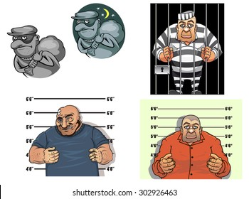 Criminal cartoon characters with thief in mask and sack, robber, gangster makes a prisoner photo against height chart and prisoner in jail behind bars