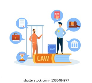 Criminal Case Trial Procedure Vector Illustration. Police Officer Guarding Prisoner in Cage. Policeman Cartoon Character. Criminal Defense. Judgement and Punishment. Gavel, Briefcase, Courthouse Icons