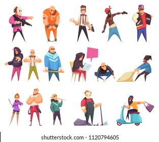 Criminal character set of isolated cartoon style human characters of thieves swindlers and gangsters   with weapons vector illustration