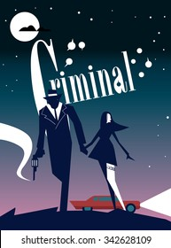 Criminal cinema poster of abstract movie. Poster for print design. Cinema poster.