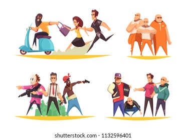 Criminal design concept with flat metaphoric human characters of gangsters thieves arms traders and convicted persons vector illustration