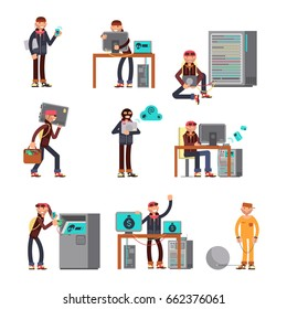 Criminal hackers breaking computer bank accounts. Finance and internet security protection icons with cartoon thief characters. Criminal computer hacker in bank hacking illustration