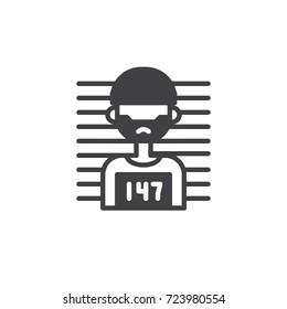 Criminal icon vector, filled flat sign, solid pictogram isolated on white. Symbol, logo illustration.