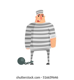 Criminal InStripy Prison Uniform Standing In Irons Caught And Convicted For His Crimes