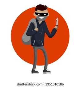 Criminal with knife and money bag. robber in dark clothes in red circle. Bank robbery and cash theft. problem and threat to urban security. dangerous Man in black mask. Cartoon flat illustration.