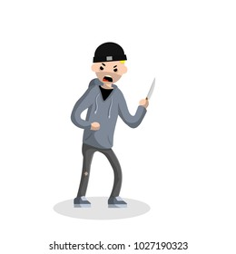 Criminal with a knife. a robber with a deadly weapon. extortionist money in a gray sweatshirt. the requirement of payments by the bandit. dangerous situation. Trouble - Cartoon flat illustration