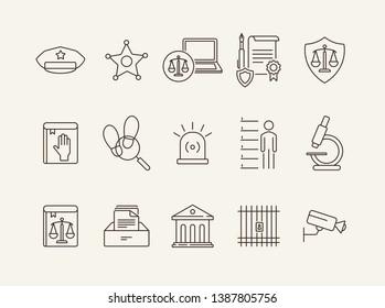 Criminal line icon set. Arrest warrant, sheriff badge, criminal code. Justice concept. Can be used for topics like investigation, court, crime