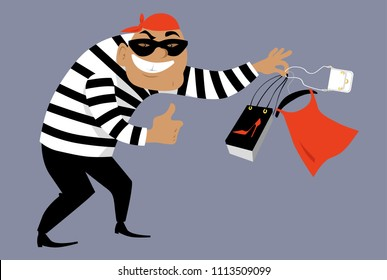 Criminal in a mask selling counterfeit goods, EPS 8 vector illustration